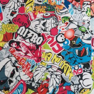 Sticker Bomb Self Adhesive Vinyl Wrap, (flexible with Air Release Adhesive)